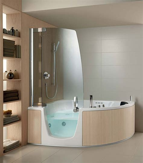 combined shower and bathtub cool comfort corner whirlpool shower combo by teuco bath