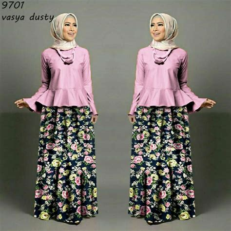 Baju Terusan Wanita Muslim Longdress Evelin Set baju dress panjang pink ara dress aqaisiraagent