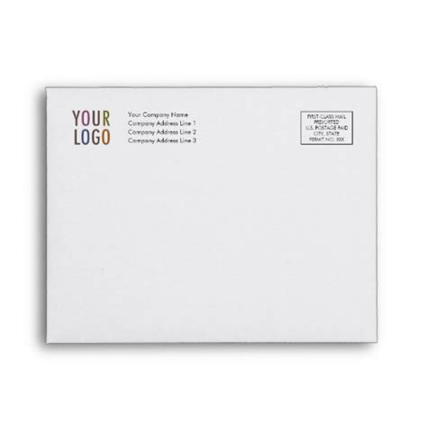 A2 Size Note Card Template by Custom Note Card Envelope A2 Logo Address Indicia Zazzle