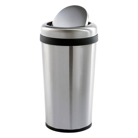 swing trash can stainless steel 12 gal round swing lid trash can the