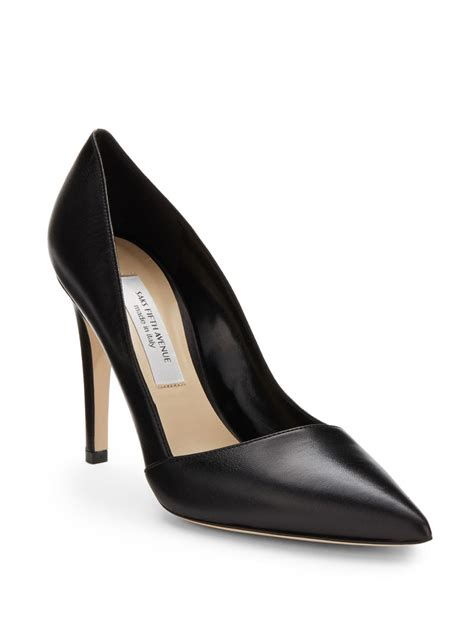 saks fifth avenue erika leather point pumps in black lyst