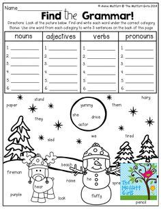 2nd grade grammar christmas find and graph nouns verbs and adjectives so many and engaging worksheets teaching