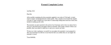 Business Letter Format Of Complaint Formal Letter Of Complaint Template Formal Letter Template