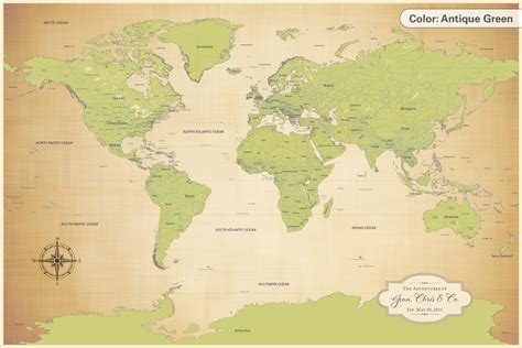 cotton anniversary push pin world map multiple color