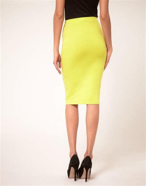 tba asos pencil skirt in neon in yellow lyst