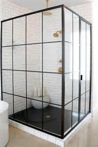 Steel Shower Baths Corner Steel Shower Enclosure With Black Geometric Floor