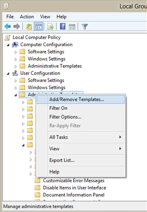 policy templates windows 7 use policy admx files in windows 7 or 8 non domain