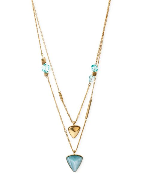 Kenneth Lanes Lipstick Necklace At Outfitters by Kenneth Cole New York Gold Tone Geometric Bead