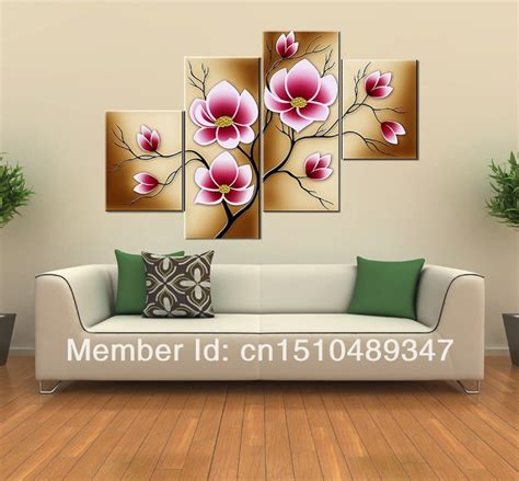Handmade Wall Decorations - handmade 4 modern abstract pink blossom flowers wall