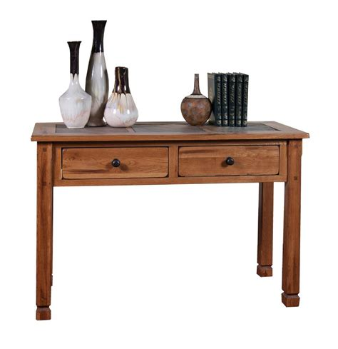 oak sofa tables sd 3145ro sedona rustic oak sofa table with slate inlay top