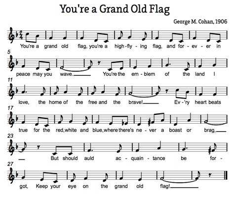 printable lyrics to you re a grand old flag treble in the classroom you re a grand old flag veteran s