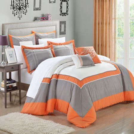 king size bed in a bag orange comforter set ballroom orange grey white king 11 comforter bed in a bag set walmart