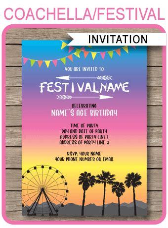 coachella party invitations template printable coachella
