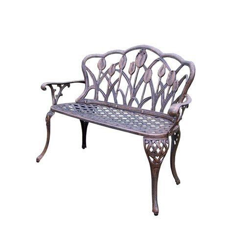 outdoor loveseat bench tulip cast aluminum outdoor loveseat bench hd1006 ab the