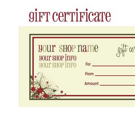 gift card templates free printable printable gift certificates new calendar template site