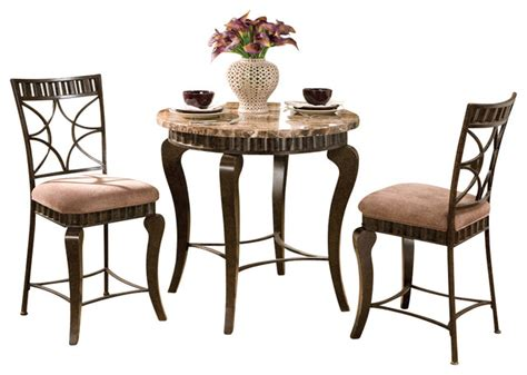 Marble Top Bistro Table Set Steve Silver Hamlyn 3 Marble Top Counter Table Set In Brown Traditional Indoor
