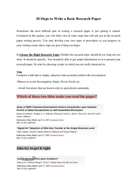 Steps On A Research Paper - 10 steps to write a basic research paper