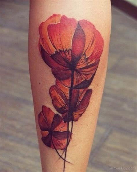 flower leg tattoo poppy designs pictures