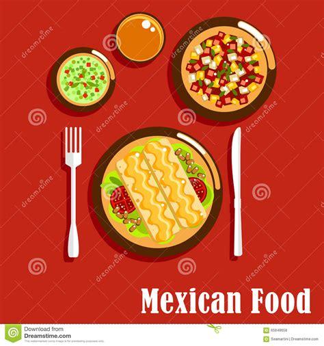 cucina messicana cucina messicana con i enchiladas e le salse illustrazione