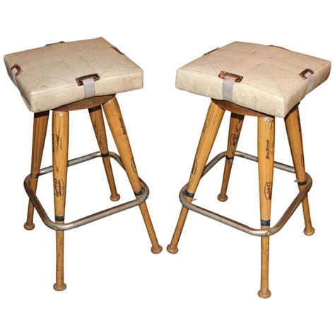 custom bar stool cushions pair of custom baseball bat bar stools with base seat cushions for sale at 1stdibs