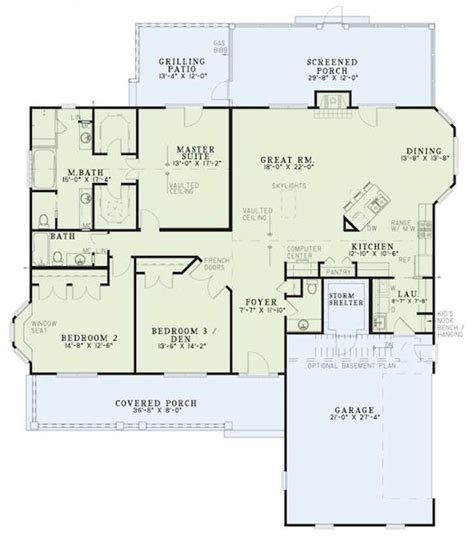 Country Style House Plan   3 Beds 2.5 Baths 2131 Sq/Ft