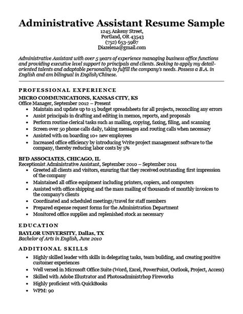 administrative assistant resume brown administrative