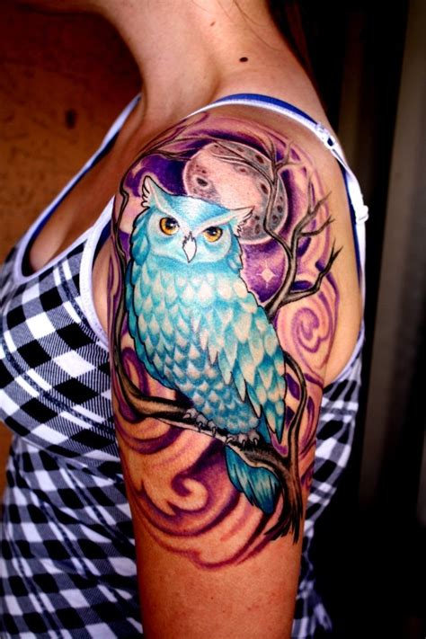 blue owl tattoo blue owl purple moon tree tattoos