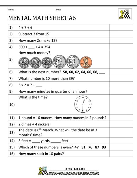 Printable Math Worksheets For Grade 2