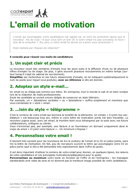 Présentation Lettre De Motivation Par Mail Mail Motivation