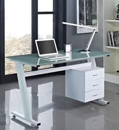 Computer Desk With Blue Glass Computer Desk Black Or White With Glass Top And 3 Drawers