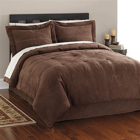 brown microsuede comforter costa brown suede bed in a bag bedding walmart com