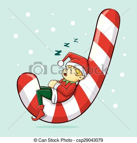 christmas elf sleeping christmas elf sleeping  huge candy cane vector illustration