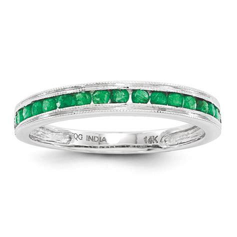 genuine emerald wedding band ring 14k white gold size 7 ebay