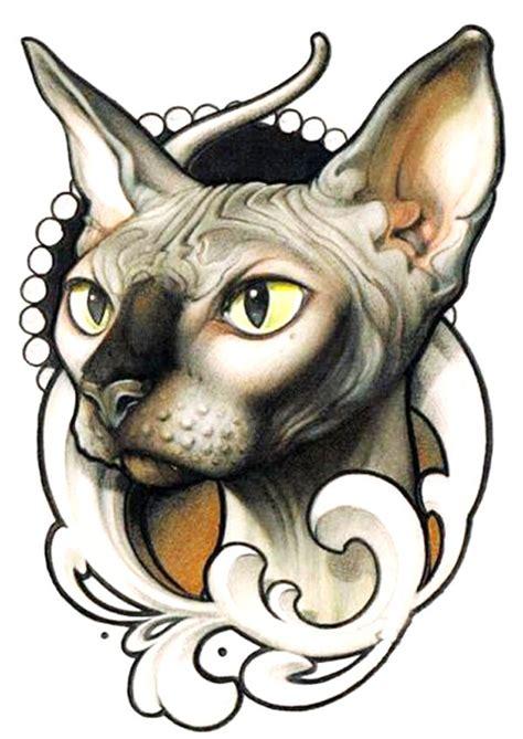 Cat Tattoo Flash   beautiful tattoo flash of victorian cat tattoo flash