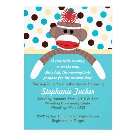 sock monkey baby shower invitation template blue boy sock monkey baby shower invitation 5 quot x 7
