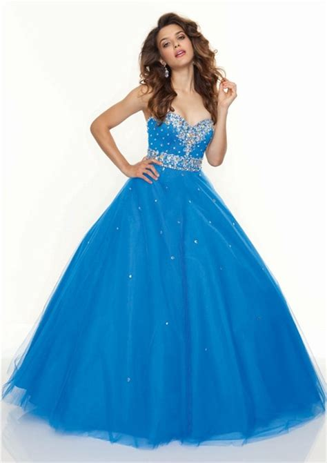 Floor Length Gown by Gown Sweetheart Floor Length Blue Tulle Prom Dress