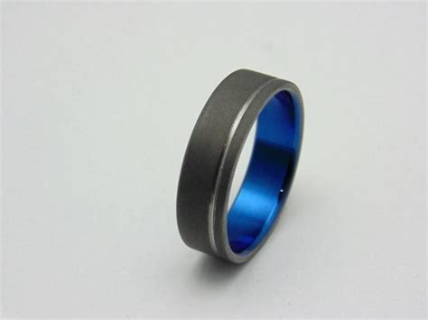 Ring Titanium Bvl 3 mens titanium ring with electron blue lining and polished groove handmade titanium wedding band