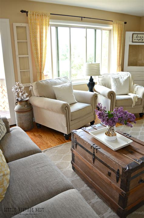 how to style your living room how i transitioned to farmhouse style little vintage nest