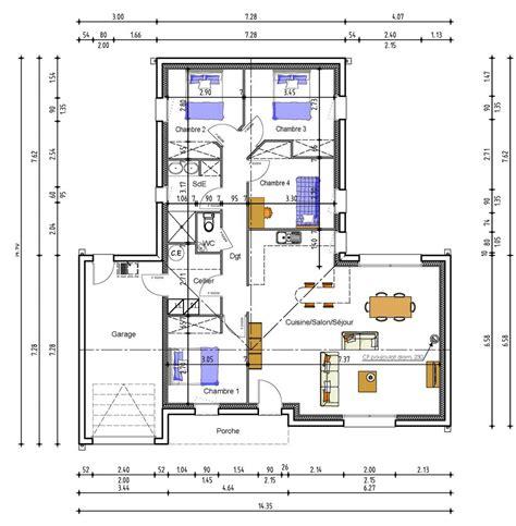 plan maison 4 chambres 騁age plan dune maison avec 4 chambres maison moderne