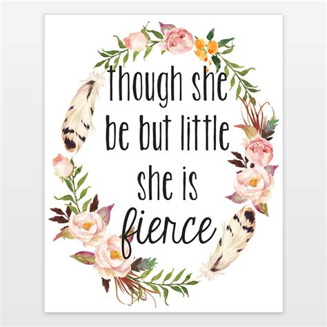 Outdoor Shower Bag - though she be but little she is fierce floral watercolor shakespeare quote art print by craftmei