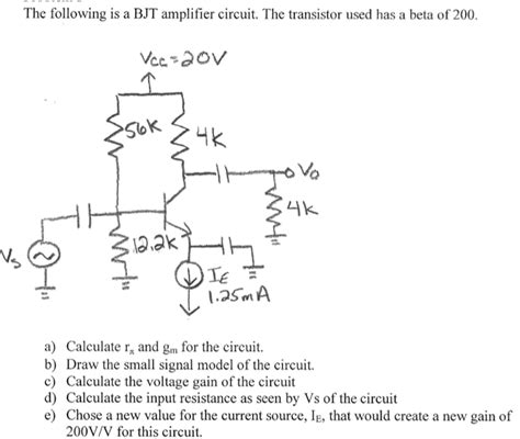 bjt transistor rpi the following is a bjt lifier circuit the chegg