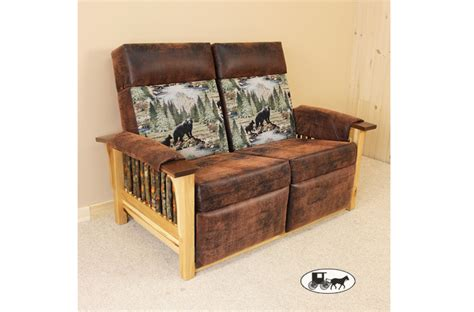 Amish Adirondack Style Futons Sofas And Love Seats Rustic Reclining Sofa