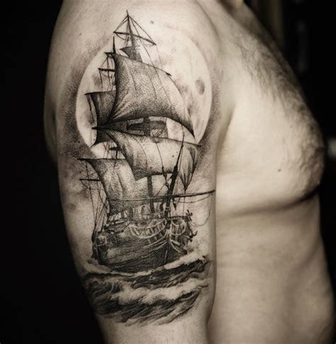 shipwreck tattoo designs sailing ship arm best ideas designs