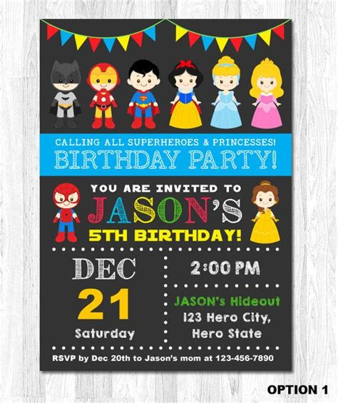 superhero and princess invitation superhero and princess