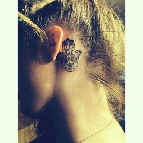 evil eye tattoo behind ear small fatima hand tattoo behind the ear ink youqueen