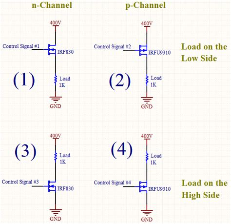 power transistor vs mosfet transistors switching dc with mosfet p channel or n channel low side load or high side load