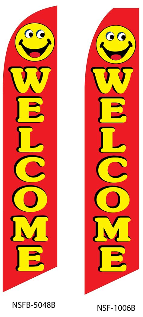 welcome red w smiley face liberty flag banner inc