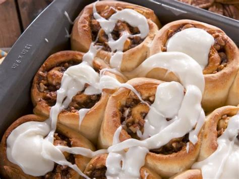 gooey cinnamon buns with thick cream cheese icing recipe nancy fuller food network