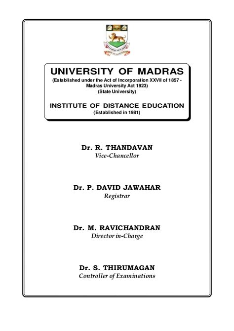 Mba In Quality Management Distance Education In Chennai by Mba Prospect Prof Madras University Chennai