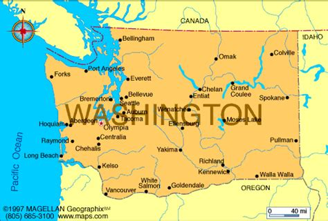 map of washington state and canada atlas washington